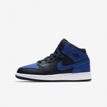 115PGYSV Air Jordan 1 Lifestyle Shoes For Boys Obsidian/Summit White/Game Royal