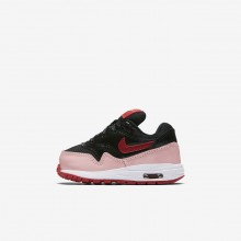 139KENUO Nike Air Max 1 Lifestyle Shoes For Girls Black/Bleached Coral/Speed Red