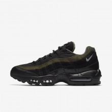 141GAQIN Nike Air Max 95 Lifestyle Shoes For Men Black/Cargo Khaki/Flat Silver