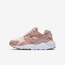 152GSLCJ Nike Huarache Lifestyle Shoes For Girls Coral Stardust/Gum Light Brown/White/Rust Pink