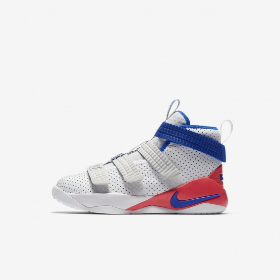 189UBKLM Nike LeBron Soldier XI Basketball Shoes For Boys White/Infrared/Pure Platinum/Racer Blue