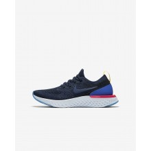 195MSNDZ Nike Epic React Flyknit Running Shoes For Boys College Navy/Racer Blue/Pink Blast