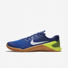 199VNAYB Nike Metcon 4 Training Shoes For Men Volt/Racer Blue/Gum Medium Brown/White