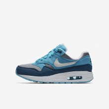 220HMKXJ Nike Air Max 1 Lifestyle Shoes For Boys Wolf Grey/Light Blue Fury/Blue Force/White