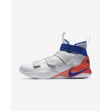 220SOZFI Nike LeBron Soldier XI Basketball Shoes For Women White/Infrared/Pure Platinum/Racer Blue