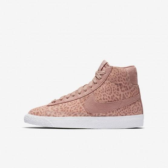 234LHRIB Nike Blazer Mid Livsstil Sko Jente Korall/Lyse Brune/Hvite/Rosa