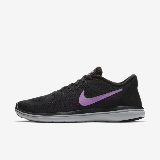 253SYVEL Nike Flex 2017 RN Running Shoes For Women Black/Hyper Magenta/Wolf Grey/Fuchsia Glow
