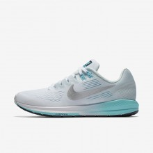 266CFKRG Nike Air Zoom Running Shoes For Women White/Glacier Blue/Polarized Blue/Metallic Silver