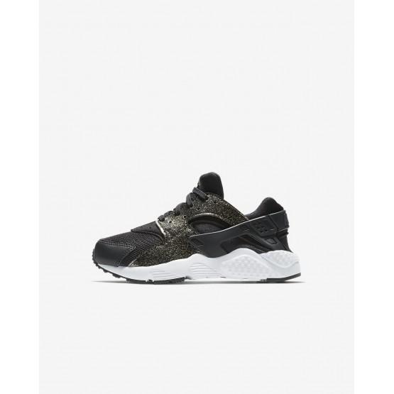 279HIPYU Nike Huarache Lifestyle Ayakkabı Kiz Çocuk Siyah/Metal Gold/Beyaz
