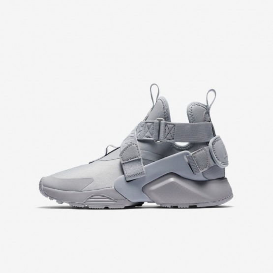 293ITDXU Nike Huarache Lifestyle Shoes For Boys Wolf Grey/Black/White