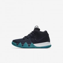295DONJZ Nike Kyrie 4 Basketball Shoes For Girls Dark Obsidian/Black