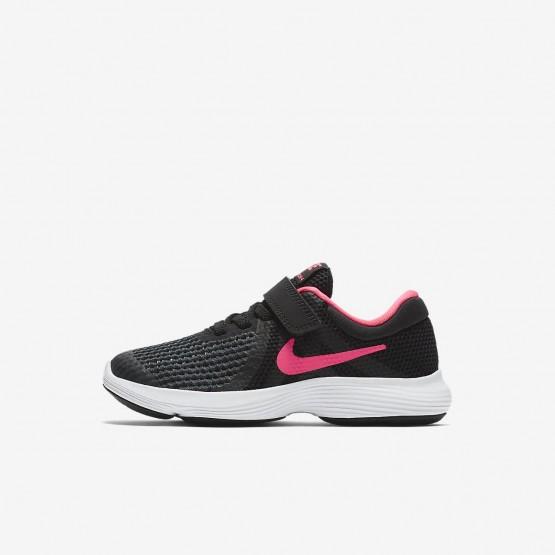 298MTSCJ Nike Revolution 4 Running Shoes For Girls Black/White/Racer Pink
