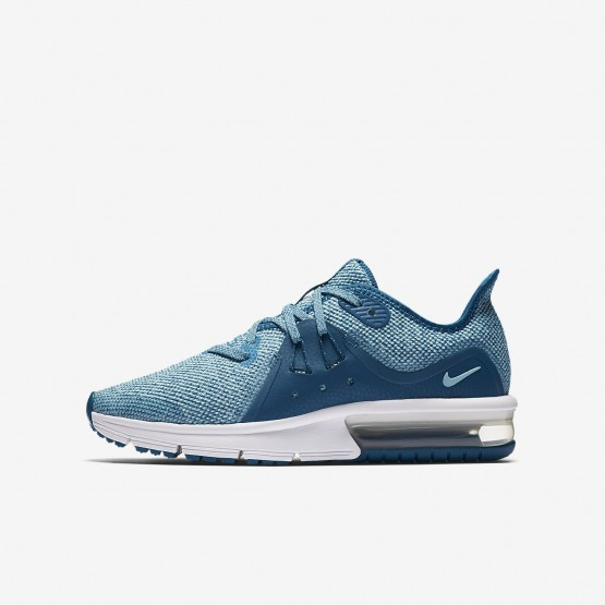 306QOXFM Nike Air Max Sequent Running Shoes For Girls Green Abyss/Bleached Aqua/White/Igloo