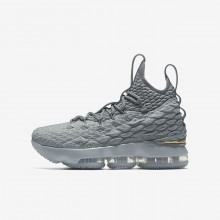 316DQRAW Nike LeBron 15 Basketball Shoes For Boys Wolf Grey/Cool Grey/Metallic Gold