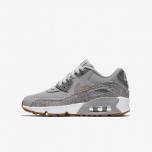 355DSWAM Nike Air Max 90 Lifestyle Shoes For Girls Atmosphere Grey/White/Gum Light Brown/Gunsmoke