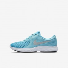 368DNJFO Nike Revolution 4 Running Shoes For Girls Bleached Aqua/Light Blue Fury/White/Metallic Silver