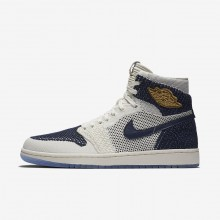 375TNEJQ Air Jordan 1 Lifestyle Shoes For Men Sail/Midnight Navy/Metallic Gold