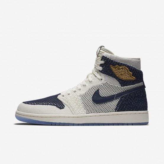 375TNEJQ Air Jordan 1 Lifestyle Shoes For Men Sail/Midnight Navy/Metallic Gold