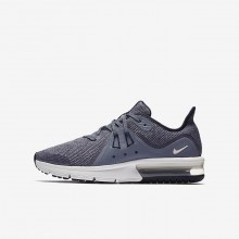 386ZTSKV Nike Air Max Sequent Running Shoes For Boys Obsidian/Dark Obsidian/White/Metallic Dark Grey