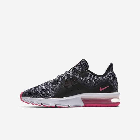391QPXGI Nike Air Max Sequent Running Shoes For Girls Black/Anthracite/Cool Grey/Racer Pink
