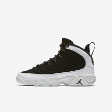 414UPOCF Air Jordan 9 Lifestyle Ayakkabı Erkek Çocuk Siyah/Beyaz/Metal Gold