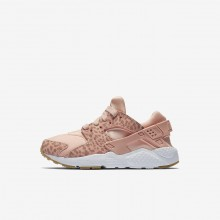 446EOSIM Nike Huarache Lifestyle Shoes For Girls Coral Stardust/Gum Light Brown/White/Rust Pink