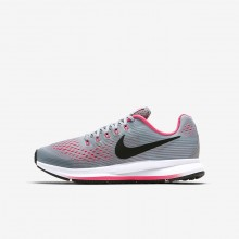 564NCPFY Nike Zoom Pegasus Running Shoes For Girls Wolf Grey/Cool Grey/Racer Pink/Black