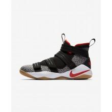 574BJORZ Nike LeBron Soldier XI Basketball Shoes For Women Black/White/Atmosphere Grey/Team Orange