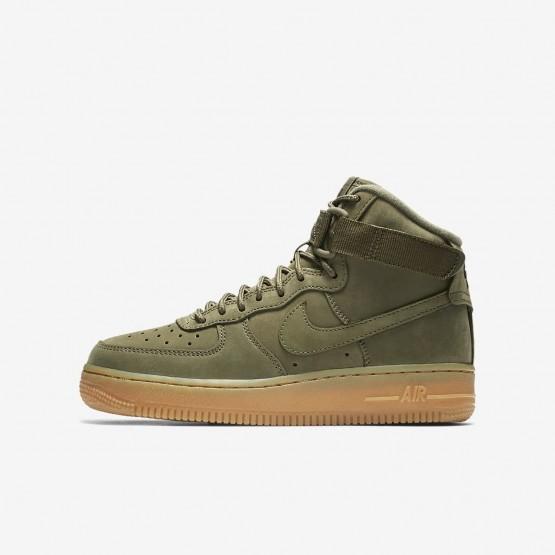 603IGNRT Nike Air Force 1 Lifestyle Shoes For Boys Medium Olive/Gum Light Brown/Black
