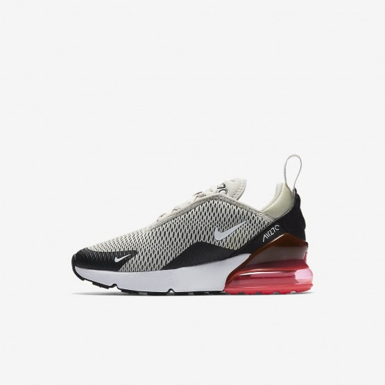 609CYZHR Nike Air Max 270 Lifestyle Shoes For Boys Light Bone/Black/Hot Punch/White