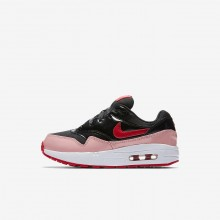 616QUHXE Nike Air Max 1 Lifestyle Shoes For Girls Black/Bleached Coral/Speed Red