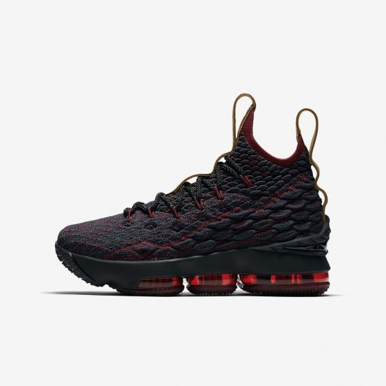 622SVLET Nike LeBron 15 Basketball Shoes For Boys Dark Atomic Teal/Team Red/Muted Bronze/Ale Brown