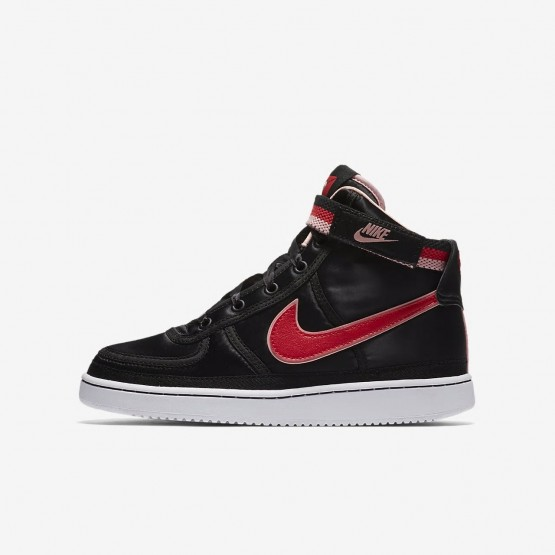 629ISVEB Nike Vandal High Supreme QS Lifestyle Shoes For Girls Black/Bleached Coral/White/Speed Red