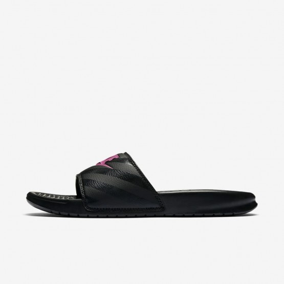 629XVRGS Nike Benassi Lifestyle Shoes For Women Black/Vivid Pink