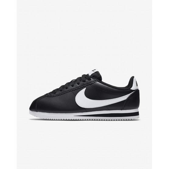 633ZSKVW Nike Classic Cortez Livsstil Sko Dame Svart/Hvite