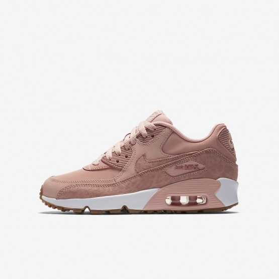 636GOCRB Nike Air Max 90 Lifestyle Shoes For Girls Coral Stardust/White/Gum Light Brown/Rust Pink