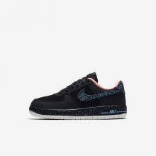 641MOEWR Nike Air Force 1 Lifestyle Shoes For Boys Black/Crimson Pulse/Summit White/Lagoon Pulse