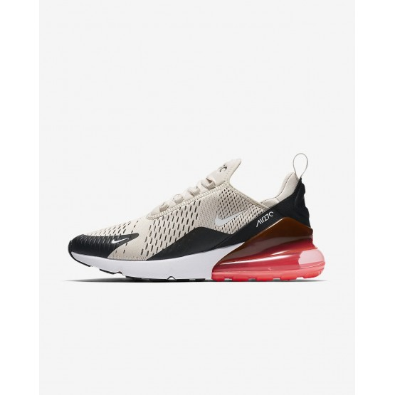 643OKAZS Nike Air Max 270 Lifestyle Shoes For Men Black/Hot Punch/White/Light Bone