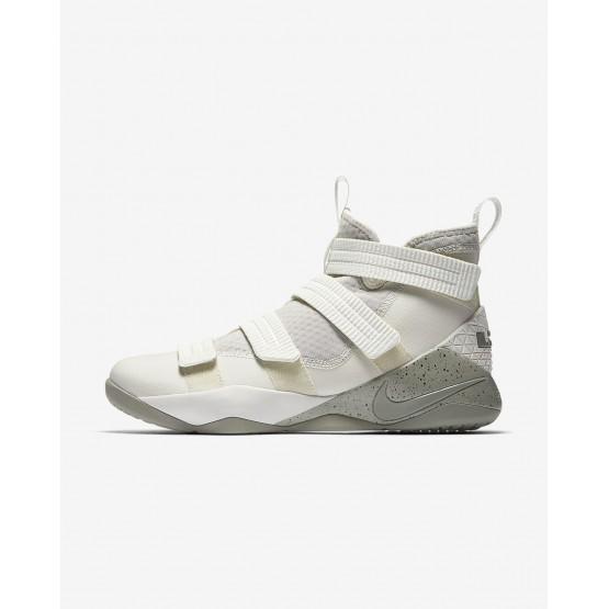 653ZBUSX Nike LeBron Soldier XI Basketball Shoes For Women Light Bone/Black/Total Crimson/Dark Stucco