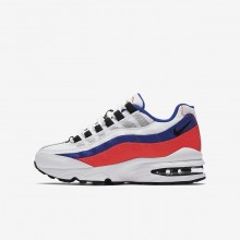 704CLHPE Nike Air Max 95 Lifestyle Shoes For Boys White/Solar Red/Ultramarine/Black