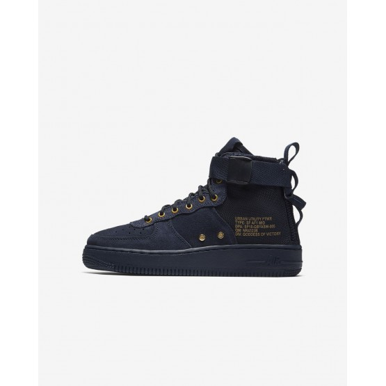 710GMVTR Nike SF Air Force 1 Lifestyle Shoes For Boys Obsidian/Black