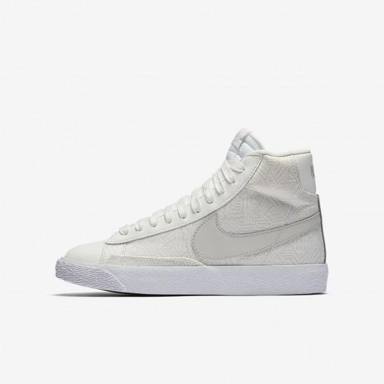 714PBQTN Nike Blazer Mid Lifestyle Shoes For Girls Summit White/White/Light Bone