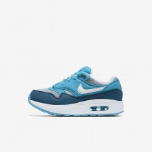 715CEAYJ Nike Air Max 1 Lifestyle Shoes For Boys Wolf Grey/Light Blue Fury/Blue Force/White