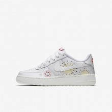 718KGFAB Nike Air Force 1 Lifestyle Shoes For Boys Summit White/Habanero Red/Kinetic Green