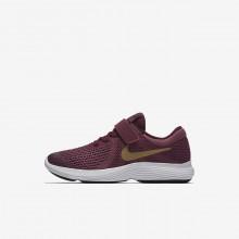 793BHFOZ Nike Revolution 4 Running Shoes For Girls Tea Berry/Bordeaux/White/Metallic Gold