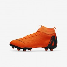 794ZJFNY Nike Jr. Superfly VI Fotballsko Gutt Oransje/Hvite