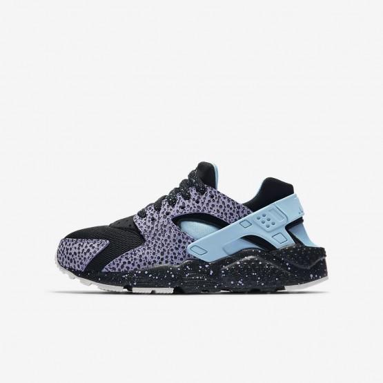 797YHWGX Nike Huarache Lifestyle Shoes For Boys Black/Purple Pulse/Summit White/Lagoon Pulse