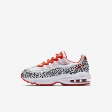 816IAJHO Nike Air Max 95 Lifestyle Shoes For Boys White/Black/Bright Crimson
