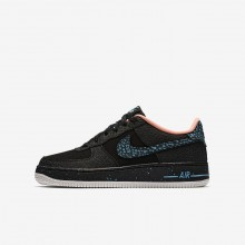 824ATNHW Nike Air Force 1 Lifestyle Shoes For Boys Black/Crimson Pulse/Summit White/Lagoon Pulse