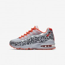 893QGROV Nike Air Max 95 Lifestyle Shoes For Boys White/Black/Bright Crimson